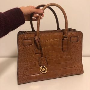 Michael Kors Crocodile- embossed leather satchel